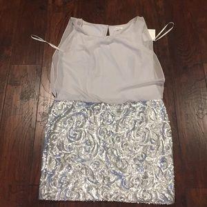 NWT Calvin Klein chiffon top withsequinskirt dress